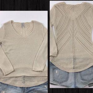 Crochet Back V-Neck Knit Sweater, S